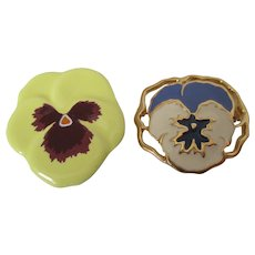 Springtime Pansy Brooches Vintage