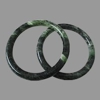 Spinach Green Marble Bangles Pair Vintage