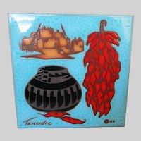 Cleo Teissedre Handmade Ceramic Tile Vintage