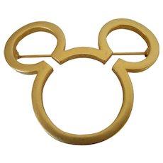 Disney Mickey Mouse Cutout Head Brooch Vintage