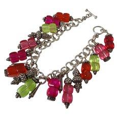 Tutti-Frutti Bright Plastic Silver Tone Charm Bracelet Vintage
