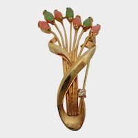Bouquet of Flower Buds Gold Tone Brooch Vintage