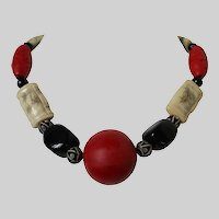 Asian Influenced Etched Bone Red Cinnabar Style Wood Beaded Necklace Vintage