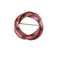 Hot Pink Enamel Blue Rhinestones Hollywood Marked Brooch Vintage