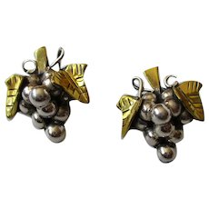 Sterling Silver Mexico Grape Cluster Earrings Vintage