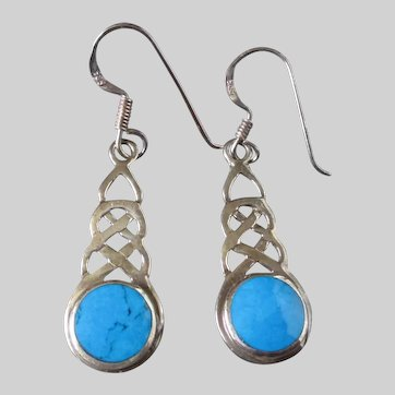 Sterling Silver Celtic Knot Turquoise Earrings  Vintage