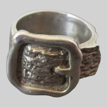 Sterling Silver Buckle Ring Size 5 1/2 Vintage