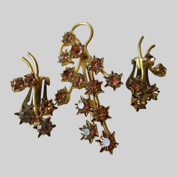 Twinkling Shooting Stars Austrian Made Brooch Earring Set Vintage