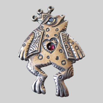 Sterling Silver Frog Prince Brooch Pendant Vintage
