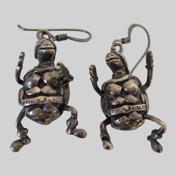 Sterling Silver Teenage Mutant Ninja Turtles Articulated Earrings Vintage