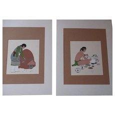 Silk Screen Prints Zuni Artist Kai Sa Percy Tsisete Pair