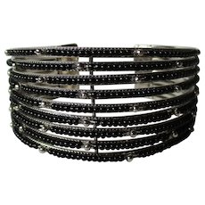 Silver Tone Black Beaded Nine Rows Cuff Bracelet Vintage