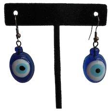 Blue White Evil Eye Glass Earrings Vintage