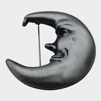 Pewter Man in the Moon Brooch Pendant Vintage