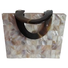 Mother of Pearl Tiled Purse Evening Bag Vintage