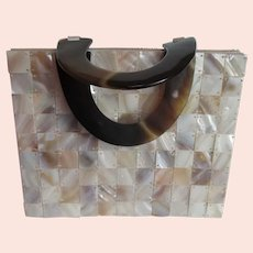 Mother of Pearl Tiled Purse Evening Bag Vintage