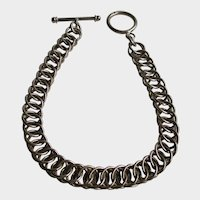 Sterling Silver Double Ring Toggle Clasp Bracelet Vintage