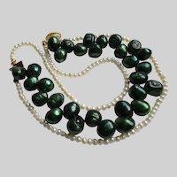 Dyed Freshwater Pearls GF Clasp Bracelet Vintage