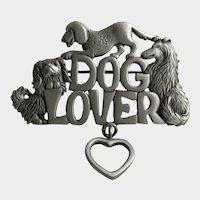 JJ Jonette Jewelry Co Dog Lover Pewter Brooch Vintage