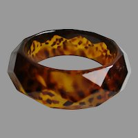 Diamond Faceted Golden Amber Colored Print Bangle Vintage