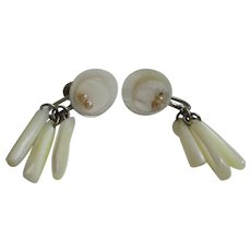 Mother-of-Pearl Button Stick Dangle Earrings Marked Japan Vintage