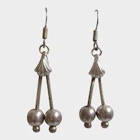Sterling Silver Two Ball Dangle Earrings Vintage