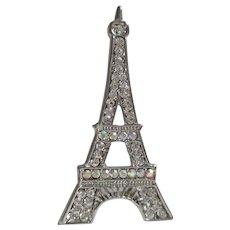 Rhinestone Eiffel Tower Brooch Vintage