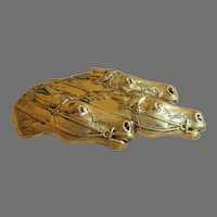 Race Horses Neck to Neck Gold Tone Brooch Vintage