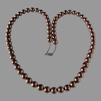 Coppertone Imitation Pearl Single Strand Necklace Vintage