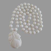 White Glass Beaded Necklace Flower Pendant Vintage