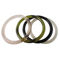Four Clear Tube Style Multi Color Bangles Vintage