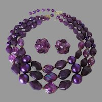 West Germany Purple Plastic Necklace Earring Set Vintage