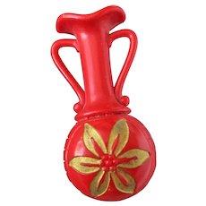 Deep Red Urn Style Posy Holder Tussie Mussie Pin Vintage