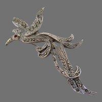 Marcasite Silver Tone Bird of Paradise Brooch Vintage