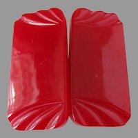 Lipstick Red Carved Bakelite Belt Buckle Vintage