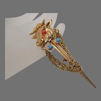 Unusual Bull's Head on a Sword with Chains Brooch Vintage