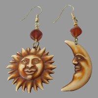Sun and Moon Light Plastic Dangle Earrings Vintage