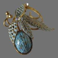 Baby Blue Art Glass Floral Brooch Vintage