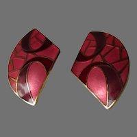 Samuel Huang Pink Burgundy Abstract Cloisonne Earrings Vintage