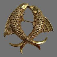 D'Orlan Pisces Double Koi Fish Brooch Pendant Vintage