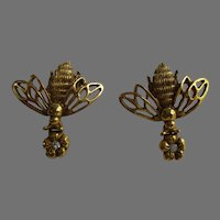 Gold Tone Bumble Bee Earrings with Flower Drop Vintage