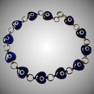 Royal Blue Glass Hearts in 925 Silver Bracelet Vintage