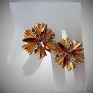 Gorgeous Gold Tone Topaz Smokey Rhinestone Coro Corocraft Earrings Vintage