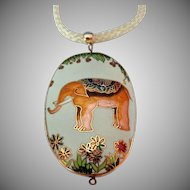 Vintage Cloisonne Copper Colored Elephant and Flowers Pendant on Ivory Colored Cord