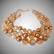 Stunning Coro Multi Type Champagne Colored Beaded 3 Strand Necklace Vintage