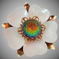 Sarah Coventry Canada Dogwood Flower Watermelon Stone Brooch Vintage