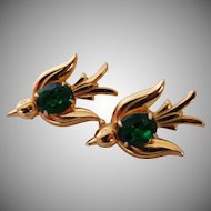 Pegasus Coro Birds Emerald Green Glass Stone Pins Vintage