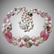 Pink and White Glass, Lucite, Sugar Coated Beads Necklace Vintage