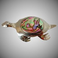 Abalone Shell Mexico Turtle Pin Vintage