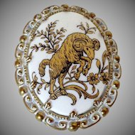 Big Horn Sheep in Trees Oval Brooch W Germany Vintage